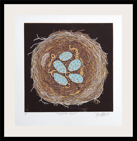 Magpies Nest, linocut reduction with gold