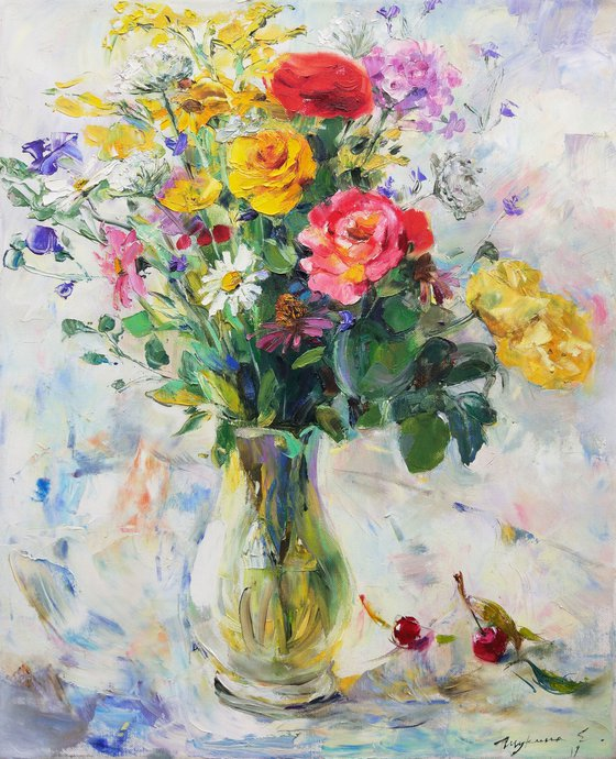 Summer bouquet. Roses and cherries