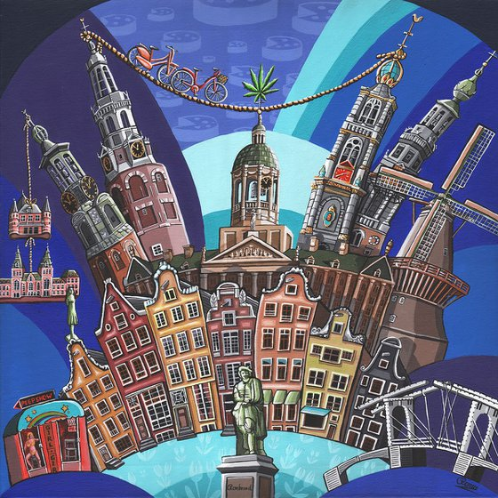 Amsterdam Landmarks (Blue)