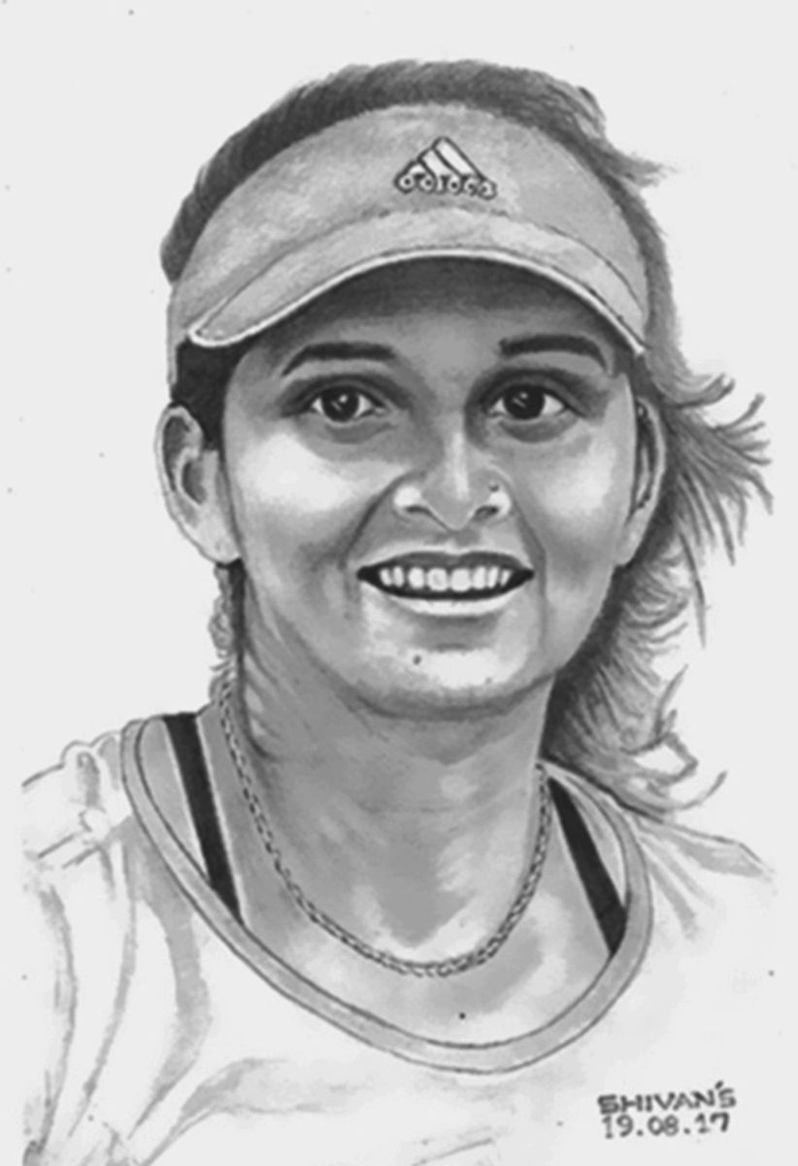Indian professional twnnis player sania mirza 2017 pencil drawing