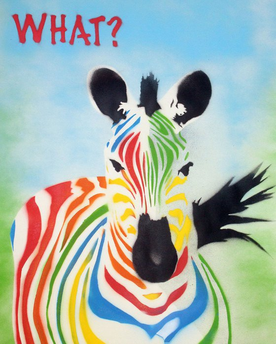 What? Zebra (on canvas).