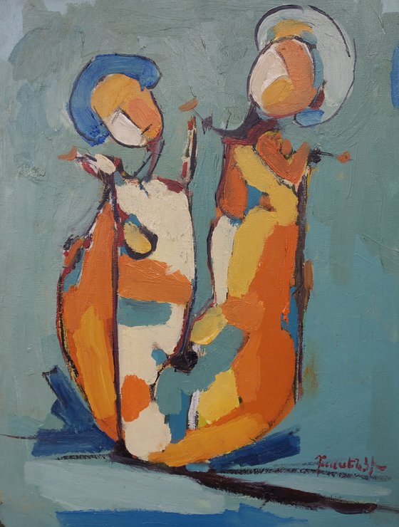 Abstract - Family (30x40cm, oil painting, ready to hang)
