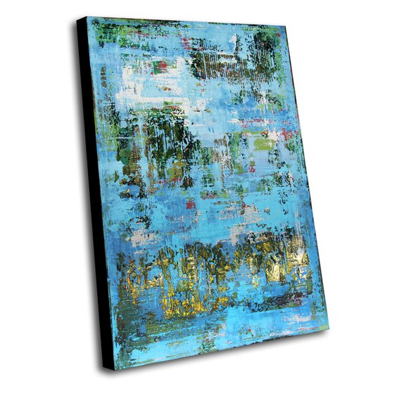 DONEGAL - 120 X 80 CMS - ABSTRACT PAINTING TEXTURED * BLUE * GREEN * GOLD