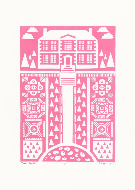 Manor Garden Screen Print A3 size in English Rose- Unframed - FREE Worldwide Delivery