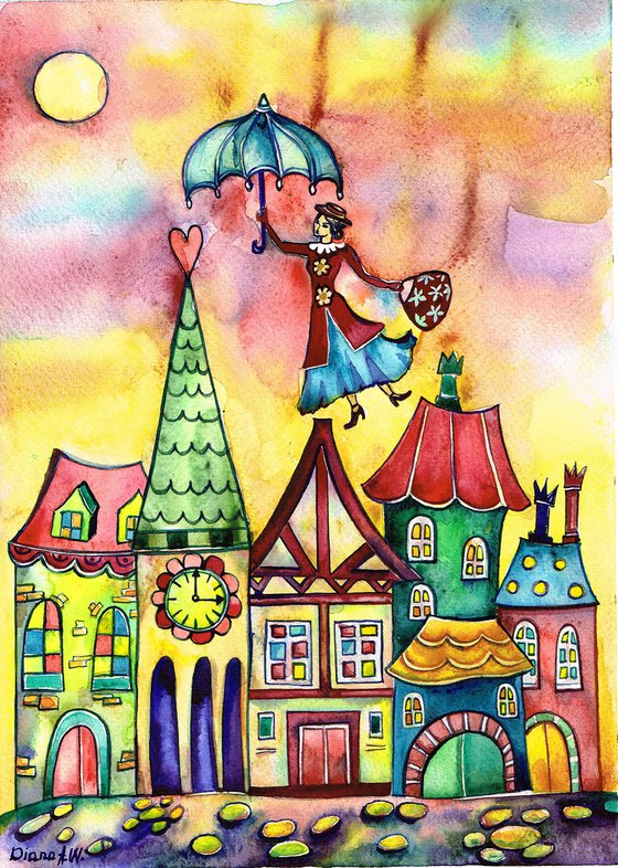 MARY POPPINS ORIGINAL PAINTING, FANTASY, GIFT IDEA. COLOURFUL HOUSES, LONDON, COLOURFUL LONDON, LANDSCAPE, Mary Poppins ABOVE THE CITY, 2