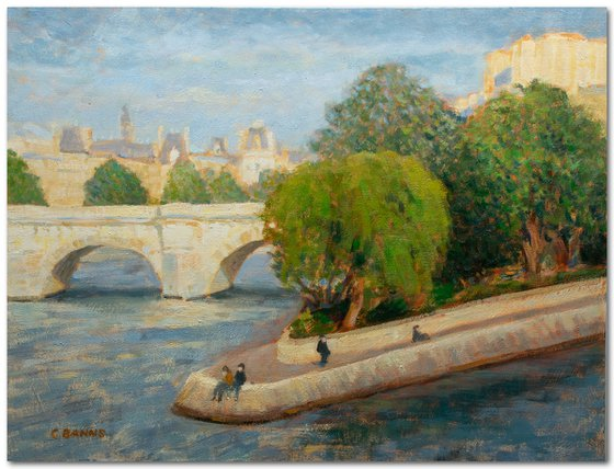 Summer in Paris France, impressionist oil painting