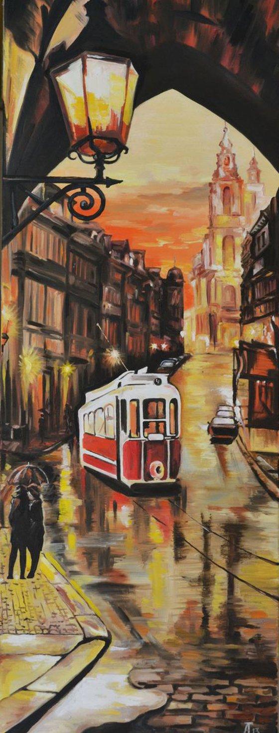 Evening tram in Prague
