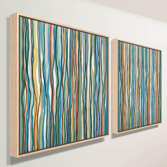 Yarrabee Twins - 79cm squ each- acrylic painting on canvas