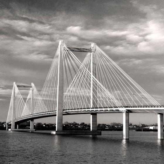 B&W of cable bridge.