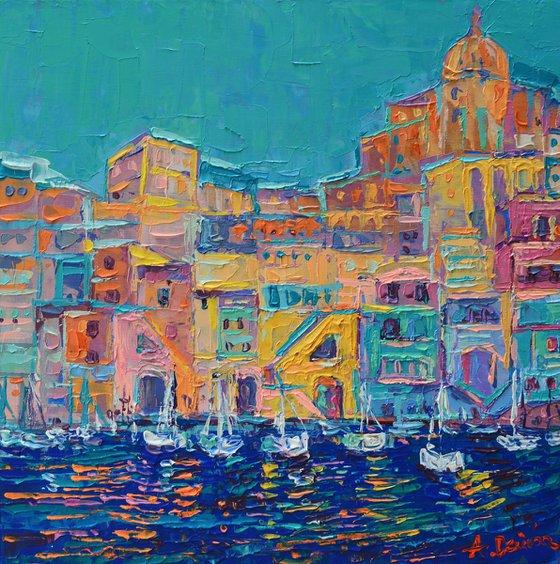 Bay of Naples #3 - palette knife Procida Island seascape