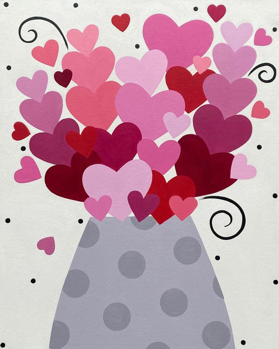 Pink Heart Bouquet with Polka Dot Vase