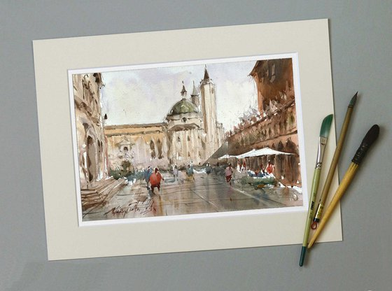 Ascoli Piceno, Italy, watercolor painting on paper, 2021.
