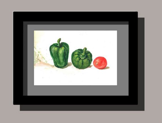 Still life with capsicums and tomato _ 3 watercolor alla-prima painting