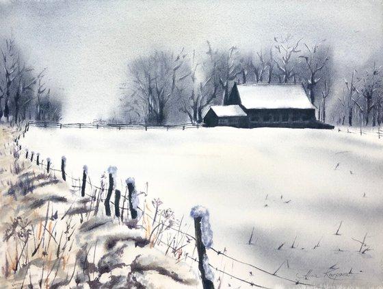 Snowy village winter landscape