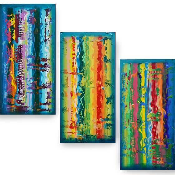 Rainbow A831 Large abstract paintings Palette knife 100x150x2 cm set of 3 original abstract acrylic paintings on stretched canvas