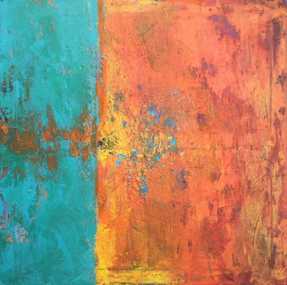 Abstract painting - yellow, orange, turquoise - Green earth