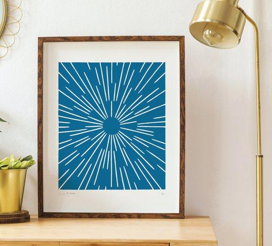 Scope (Blue Geometric Linocut Print)