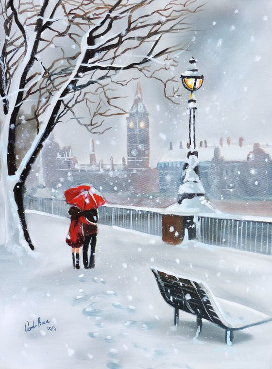 Winter in London painting