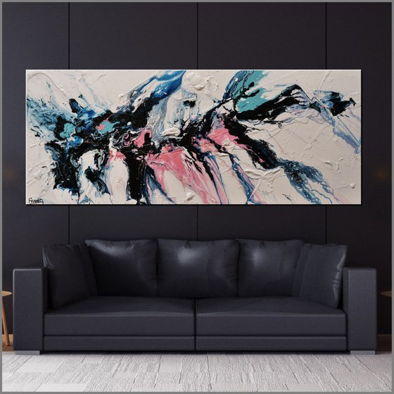 Dusty Midnight 200cm x 80cm Blue White Pink Abstract Art