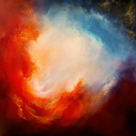 Fire and Ice (Large skyscape/cloudscape oil painting)