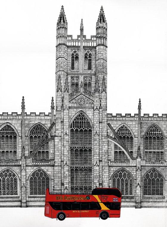 Tour Bus at Bath Abbey - Pen Drawing