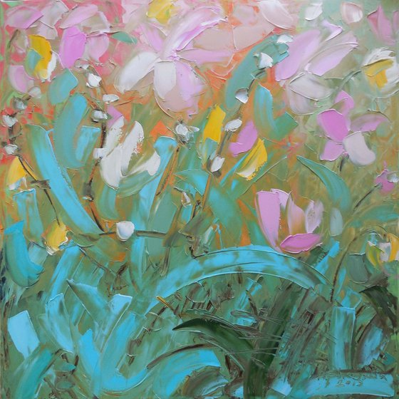 Purple garden - palette knife impasto painting impressionistic alla prima original artwork large