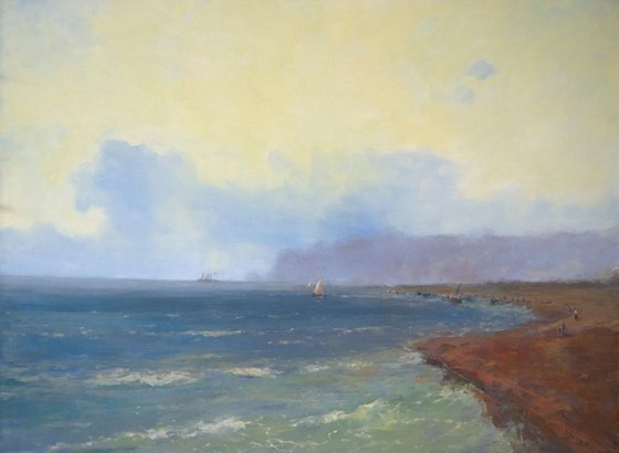 South Coast, Seascape Original oil Painting, Handmade artwork, Museum Quality, Signed, One of a Kind