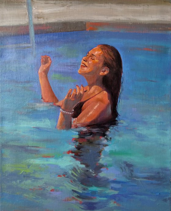 In the pool  40x50cm ,oil/canvas, ready to hang