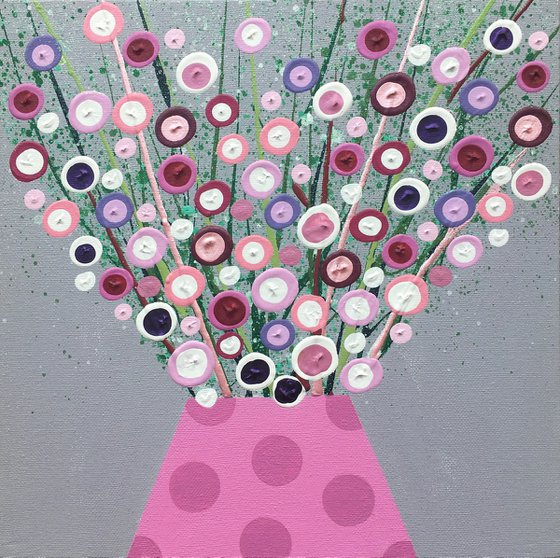 Pink Blooms in Pink Polka Dots