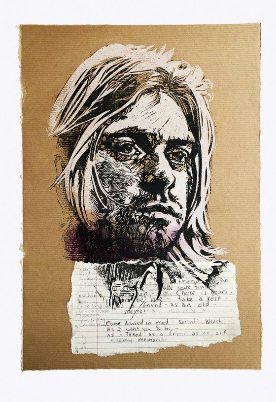 Kurt Cobain Brown Paper
