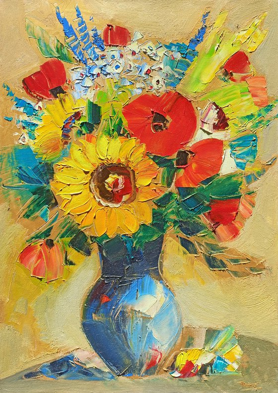 Field flowers in vase-2 (50x70cm, oil painting,  ready to hang)