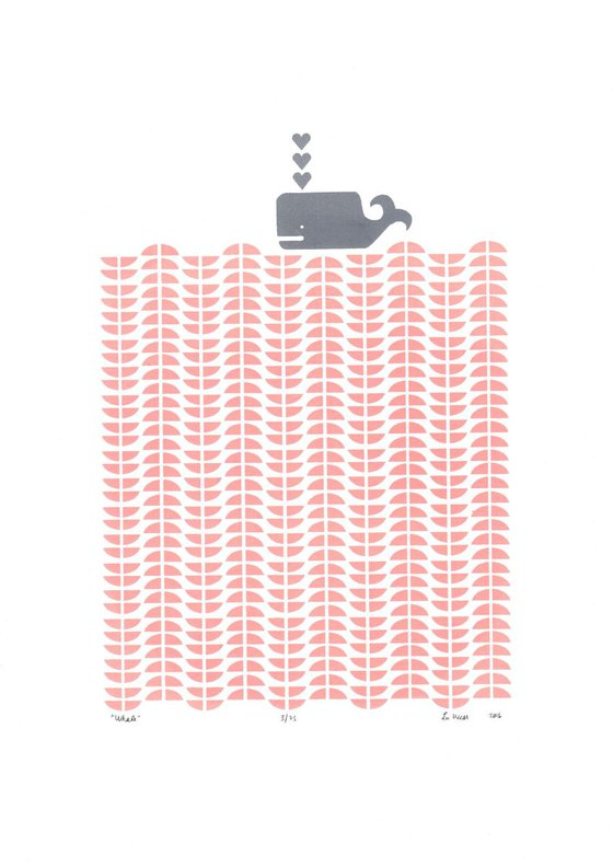 Whale in Rose Blush - Unframed - FREE Worldwide Delivery