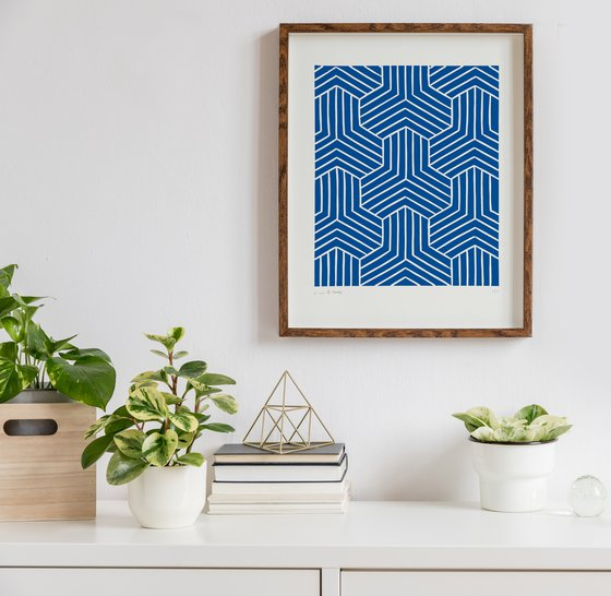 Link (Blue Geometric Linocut Print)