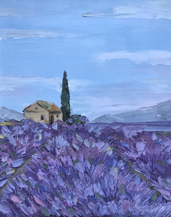 Provence lavender field Oil Painting French Landscape impasto