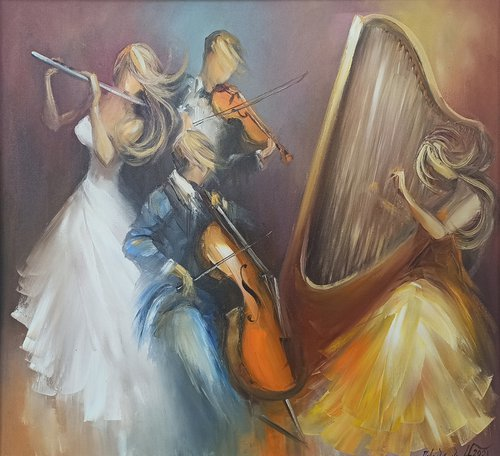 Classic quartet (70x80cm, oil painting, ready to hang)