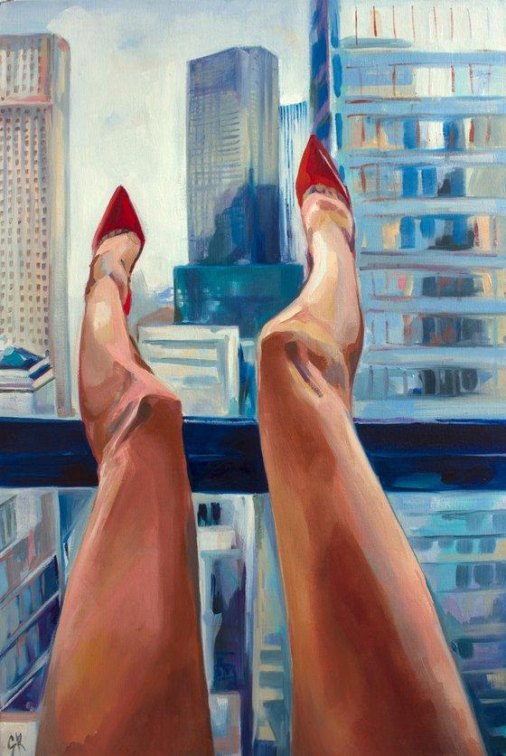 NEW YORK - oil painting on canvas board, original gift, red heels, woman, nude, erotics, original gift, home decor, pop art, office interior