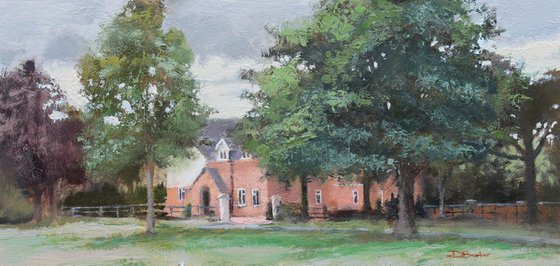 The House on the Green - original plein air oil painting
