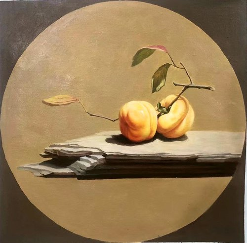 Still life:Persimmons on the wood
