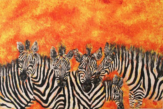 Stripes - Herd of Zebras - 100% Finger Painting - Acrylic Painting on Unstretched canvas