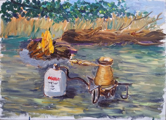 Camping coffee in the cezve Original Plein Air Oil Painting