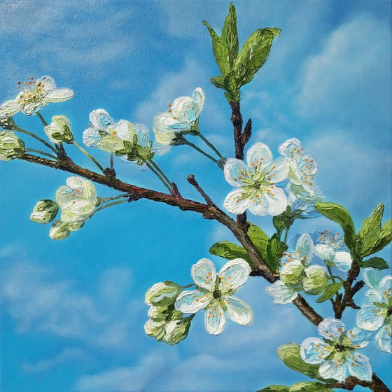 """Spring morning"", oil floral blossom painting, palette knife flowers artwork"