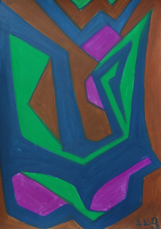 12.08.2020, a series of 5 abstract paintings, gouache on paper