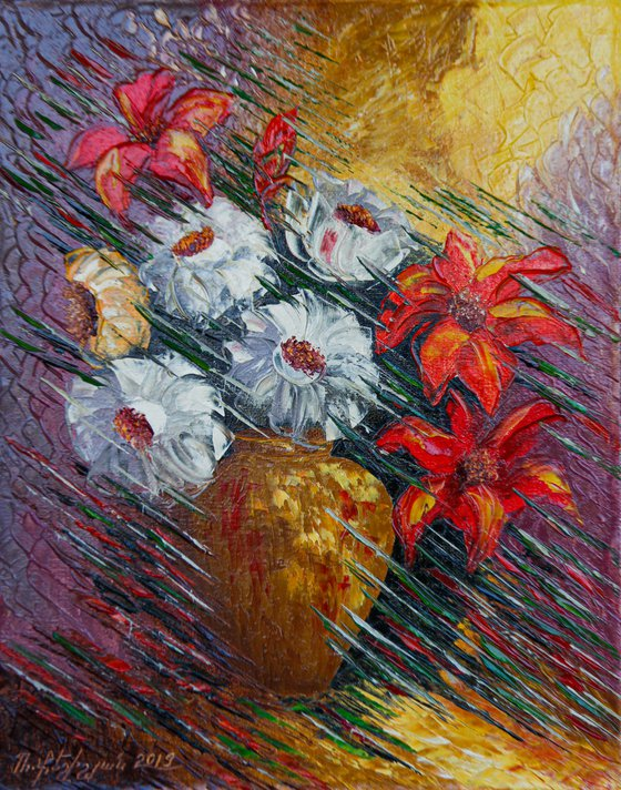 Modern flowers 40x50cm, oil painting, ready to hang