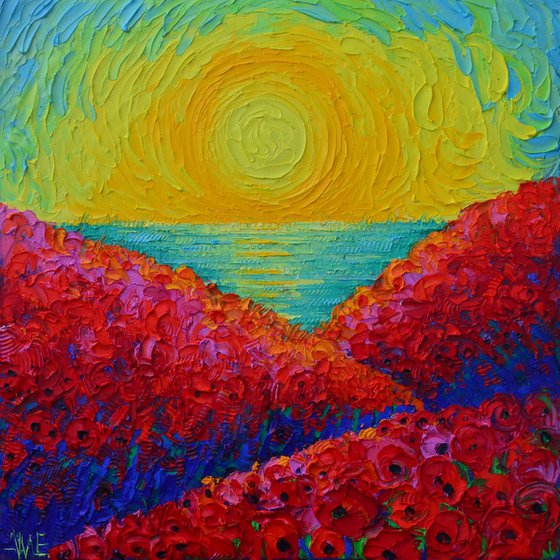 RED POPPIES BLOOMING PLANETS AT SUNRISE abstract landscape textural impressionist impasto palette knife oil painting by Ana Maria Edulescu