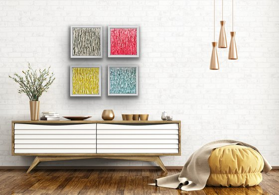 Emergence composition 4  - Illuminating Yellow - Grey- Antique Teal - Watermelon Pink- 4 original paintings ready to hang