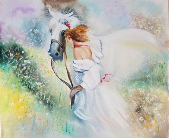 A Girl with a Horse. Mothers Day Gift. Gift for couple. Bedroom Decoration. Spectacular Oil Painting on Canvas. Gorgeous Summer Landscape. Home Decor.