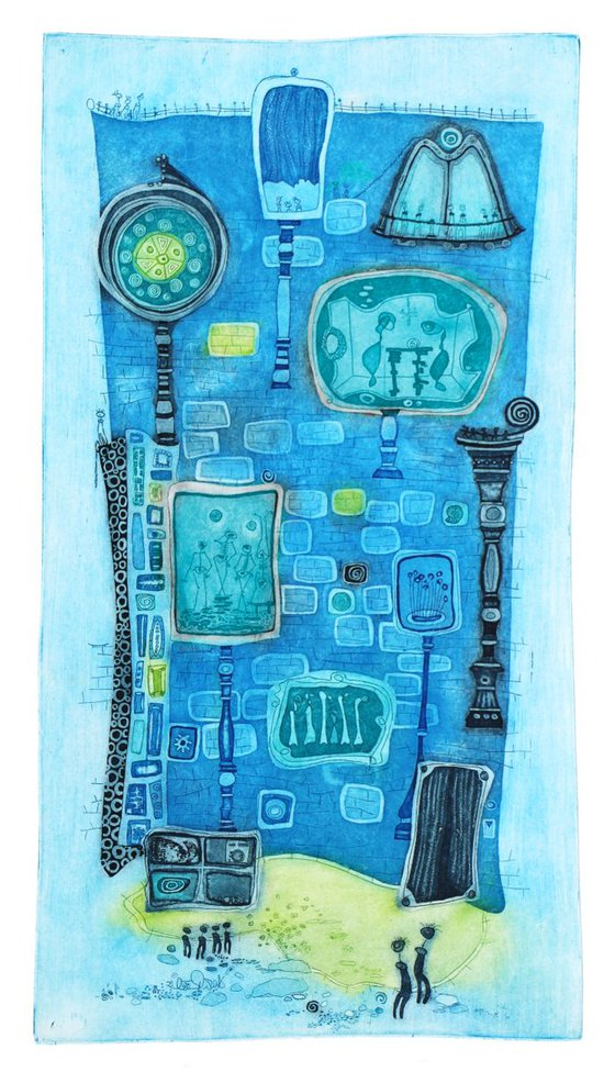 """Heike Roesel """"Happy House"""", fine art etching, in 2 editions of 20 each, in variation"""