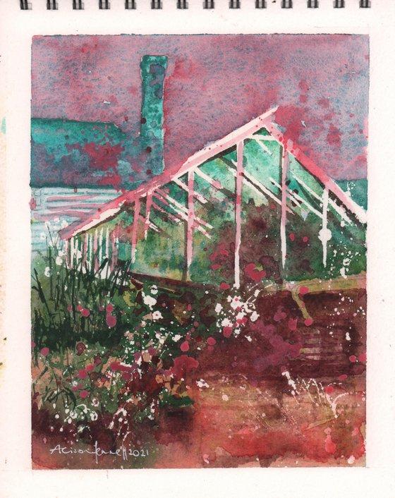 Humble Hothouse - Original Gouache Glasshouse Painting UK artist