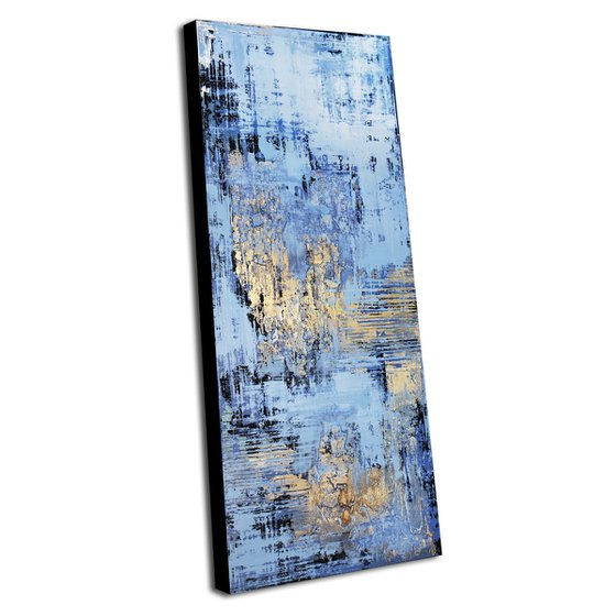 """AVALON * 47.2"""" x 19.7"""" * ABSTRACT ACRYLIC PAINTING ON CANVAS * BLUE * GOLD"""