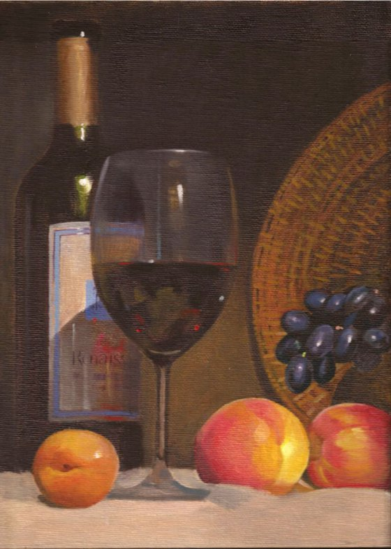 still-life with wine and peaches